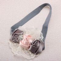 Elastic Headband Rose Flower Baby Children hair Accessory Grey    FREE UK Delivery